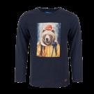 Donkerblauw t-shirt met beer - Hike navy melange