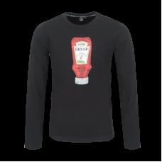 Zwarte t-shirt met ketchup - Snack black