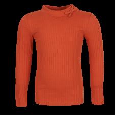 Roodoranje geribbelde t-shirt - Molly burnt orange