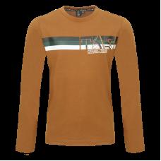 Bruine t-shirt met fietsthema - Eddy cognac