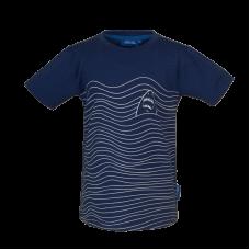 Blauwe gestreepte t-shirt met haai - Jawsy dark blue
