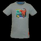 Grijsgroene t-shirt met dino - Dinos light green melange
