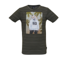 Kakigroen gestreepte t-shirt met tijger - Jungo khaki melange