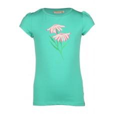 Groenblauw t-shirt met bloemen - Narcy dark mint