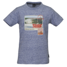 Blauwgrijze t-shirt met surfthema - Wave blue melange