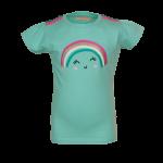Muntgroene t-shirt met regenboog - light mint bow (stapelkorting)