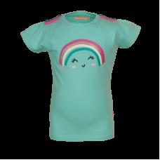 Muntgroene t-shirt met regenboog - light mint bow