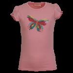 Roos t-shirt met vlinder - Brush pink