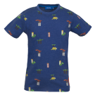 Donkerblauwe t-shirt met dino's - Dinos dark blue melange