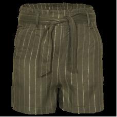 Kakigroene short met goudkleurige strepen - Awkward light khaki