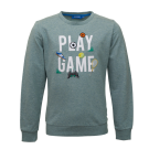 Grijsgroene sweater met sportthema - Score light green melange