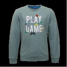 Grijsgroene sweater met sportthema - Score light green melange