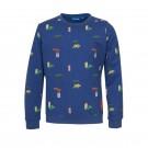 Donkerblauwe sweater met dino's - Dinos dark blue melange