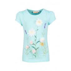 Lichtblauwe t-shirt met veldbloemen - light aqua spring