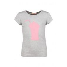 Grijs melée t-shirt met milkshake in wrijfbare pailletje - grey melange milk