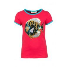 Rode t-shirt met tropische vis met beweegbare pailletjes - pearl dark pink