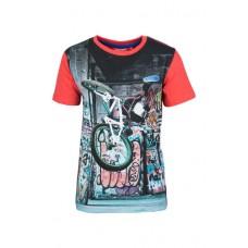 Rode t-shirt met tijger op moto - graffiti moto red jump