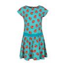 Blauw kleedje met kermiseendjes - duck aqua - maat 116 (Geboortelijst Sem D. B.)