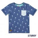Blauwe t-shirt met palmbomen - indigo