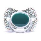 Appelblauwzeegroene fysiologisch fopspeentje met stipjes- Haute couture premium silicone +12m (Geboortelijst Eli V.)
