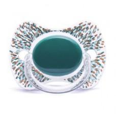 Appelblauwzeegroene fysiologisch fopspeentje met stipjes- Haute couture premium silicone +12m