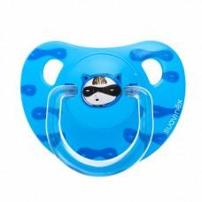 Blauwe anatomische fopspeen met superbaby: little luxuries 6m +