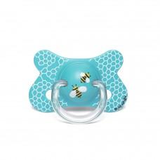 Vlinderfopspeen fysiologisch - blauw met bijtjes - 4 tot 18m