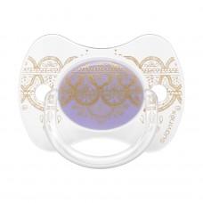 Lichtpaarse fysiologisch fopspeentje met goud motief- couture premium silicone 0-4m