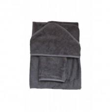 Zwarte XL badcape + washand graphite
