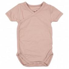 Newborn wikkelbody met korte mouwen - Mellow mauve