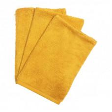 Set van 3 okerkleurige washandjes