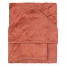 XL badcape + washand - apricot blush (Geboortelijst Mon V.)