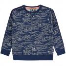 Blauwe sweater met golven - Dorian  - maat 104 (Geboortelijst Vic S.)