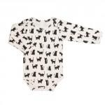 Body lange mouwen met katten - zwart/wit cats 50/56