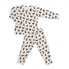Tweedelige pyjama met katjes - zwart wit cats - maat 98 - 3 jaar  (Geboortelijst Fien G.)