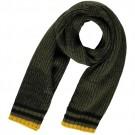 Kaki kleurige sjaal  met blauwe en okergele accenten - Ballas