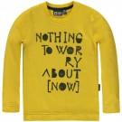 Mosterdgele t-shirt lange mouwen - nothing to worry abot (now) - barrie dijon - maat 116 (Wenslijst Pherre V.L)
