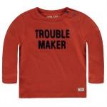 Roestbruine babyshirt trouble maker - terracotta caddam