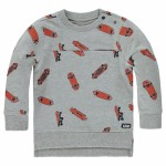 Grijze sweater met skateboarden - light grey melange cullin