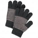 Handschoenen antraciet met lichtroos zigzag motief - Fidelia