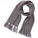 Sjaal antraciet met lichtroos zigzag motief - flavia