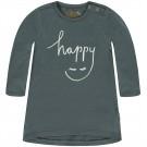Antraciet kleedje met lachend gezichtje - happy dark slate garloes - maat 86 (Geboortelijst Moon B.)