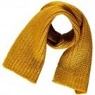 Okerkleurige gebreide sjaal met lurex - Goedele gold