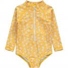 UV- swimsuit geel met bloemetjes - Maggy old gold