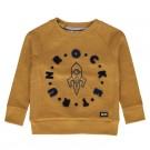 Mosterdgele sweater met raket - Kingsley - maat 68 (Geboortelijst Gust D.M.)