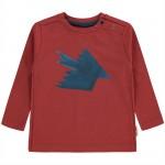 Roestbruine t-shirt met vogel - Jesper