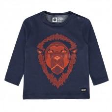 Donkerblauwe shirt met leeuw - krijn