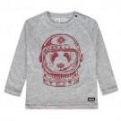 Grijs melange t-shirt panda astronaut - Kye - maat 68 (Geboortelijst Marcel D.G.)