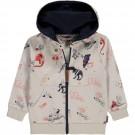 Beige hoodie met dino/ruimteprint - Sharif moonstruck
