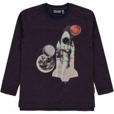 Blauw/rood gestreepte ruimte t-shirt - Verner navy blazer